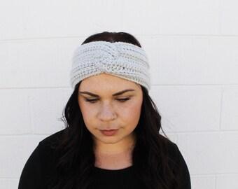 Gray - Crochet/Knit Turban Headband Ear Warmer