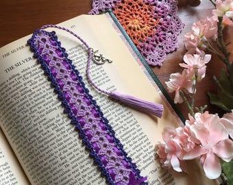 Crochet bookmark, light purple, unique book lover gift