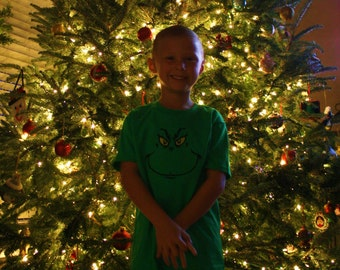 Grinch Inspired Applique T-Shirt~Embroidered~Christmas Applique T-Shirt
