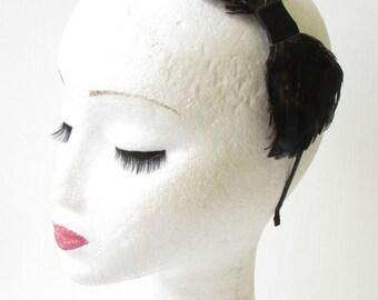 Navy Blue Black Lady Amherst Pheasant Feather Headband Fascinator 1940s Vtg 1281