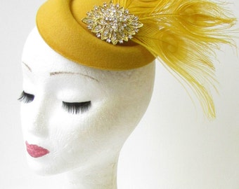 Gold Mustard Silver Feather Pillbox Hat Races Fascinator Ascot Headpiece 1663