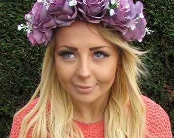 Large Grape Purple White Baby's Breath Rose Flower Garland Headband Big Vtg 1961