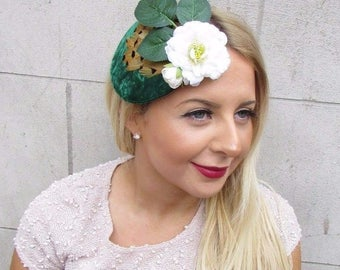 Green White Brown Pheasant Feather Flower Fascinator Races Vtg Hair Clip 2623