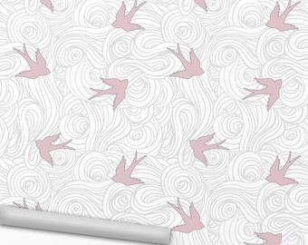Birds in Clouds Peel 'n Stick Wallpaper / Soft Pink