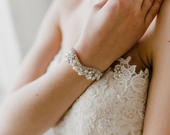 Silver Bridal Cuff | Wedding Bracelet | Silver Pearl Bracelet | Crystal Bridal Bracelet | Wedding Cuff | Silver Adelaide Cuff