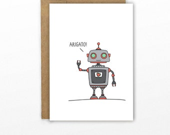 Cute Thank You Card | Arigato Roboto by CypressCardCo.com