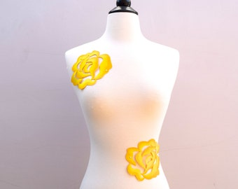 2 Iron on Yellow Flower Patches. Yellow Embroidery Rose Applique.  Golden Glow and Setting Yellow