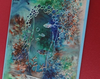 Thinking of You card with underwater ocean scene cutout