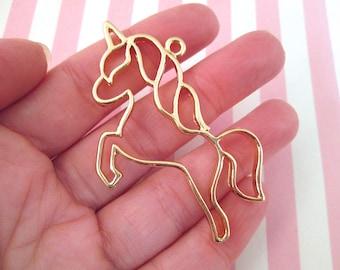 2 Gold Plated Unicorn Charms, Open Bezel Pendant,Unicorn Pendants F131