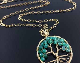May Birthstone Emerald Green Onyx Pendant Gold Tree of Life Gemini Birthstone Necklace Heart Chakra Necklace Peace Amulet Custom Family Tree
