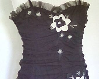 Vintage dress 80s 90s Renato Nucci Black evening dress with applique flowers size large