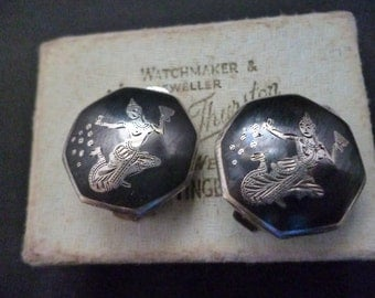 Vintage Siam sterling silver clip on earrings - Made in Siam