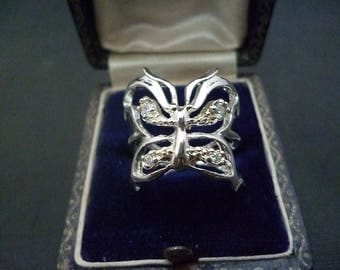 A stunning sparkly butterfly ring - 925 - sterling silver - CZ - UK L - US 5.75