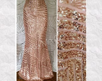 Rose Gold Sequin Maxi Skirt - Geometric