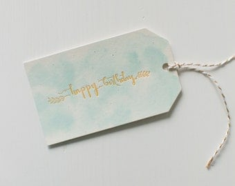 Hand-Lettered, Letterpress Printed, Hand-Painted Gift Tags, Happy Birthday, Set of 8 Handmade Gift Tags