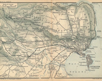 Syracuse Map Etsy - Syracuse map italy