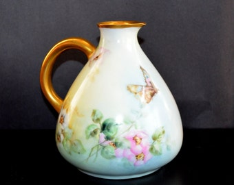 ANTIQUE Rosenthal Porcelain Cider Pitcher Hand Painted Bavaria RC Mark Ewer Artist Signed 1900s Butterfly Decorated Art Nouveau Decor