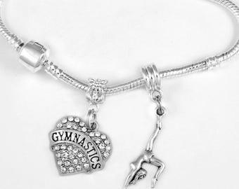 Gymnast charm bracelet Gymnast bracelet Gymnastics bracelet  jewelry Gymnast jewelry gymnastics Jewelry