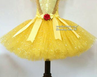 Beautiful Belle Inspired Super Sparkly Tutu Dress- SHORT- Birthday, Party, Pageant, Fancy Dress,Princess