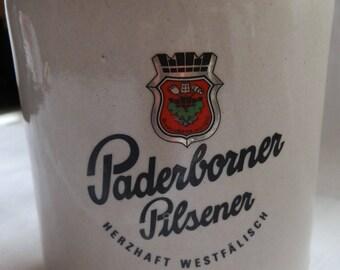 Vintage Paderborner Pilsener HERZHAFT WESTFALISCH Stoneware Beer Tankard / Stein 0.5 Litre