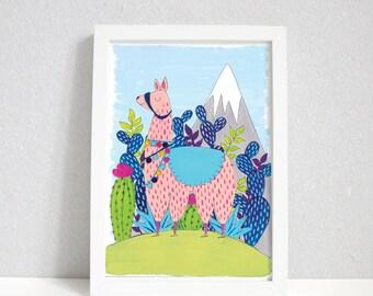 Llama on a Mountain | Llama print | Cute Illustration | Llama wall art | A4 & A5 Prints