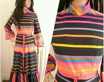 Vintage 70s Peter Collins Black Cotton Stripe Maxi Dress Party Boho / UK 6 8 / EU 34 36 / US 2 4