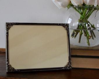 Vintage Metal Picture Frame Antique Brass Black Antiqued Patina Embellished Corner Design Motifs