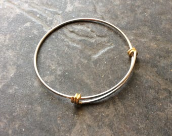 """NEW Two Tone STAINLESS STEEL bangles adjustable wire bangle bracelet blanks sold per piece Beautiful Quality 2 1/2"""""""