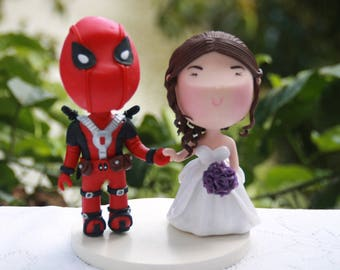 Deadpool with brunette bride. Wedding cake topper. Wedding figurine. Holding hands. Handmade. Fully customizable. Unique keepsake