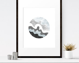Modern abstract art, Gray wall art, Watercolor art, Abstract watercolor, Abstract wall art, Circle art, Contemporary art, Large printable