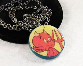 """Recycled Comic Book Pendant Necklace Hot Stuff The Little Devil OOAK Cartoon Character Jewelry 24"""" Gunmetal Chain Birthday Gifts for Her"""