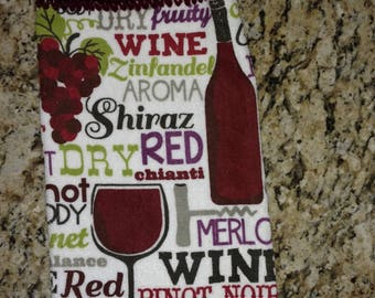 Lots of Wines Hanging Kitchen Towel