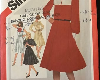 Simplicity 5291 - 1980s Dress with Blouson Bodice, Pilgrim Collar, and Flared Skirt - Size 12 Bust 34