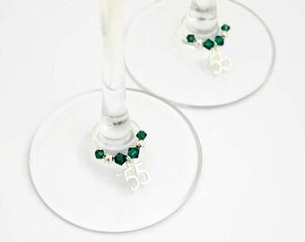 Pair of 55th Anniversary Wine Glass Charms, 55 Year Anniversary Gift, Emerald Anniversary, Emerald Wedding Anniversary, Swarovski Crystal