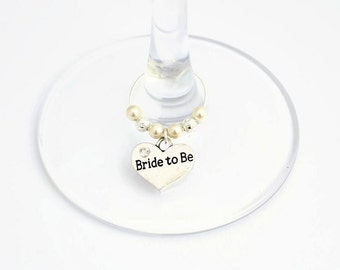 Bride to Be Wine Glass Charm - Swarovski Crystal - Bride to Be Gift - Wedding Hen Night Gift - Bridal Shower Gift - Hen Party Gift