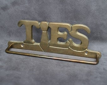 Brass Ties Rack, Vintage Brass Ties Holder, Wall Mounted Ties Scarf's Hanger, Closet Organizer for Men, Gift for Boss
