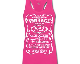 95th Birthday Gift Ideas for Women Unique ***Bamboo*** Tank Top - Made in 1922 Shirt Gift with ***Velvety Print*** design