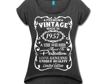 """60th Birthday Gift Ideas for Women - Unique Rolled Sleeve Boxy T-Shirt - Memorable """"Made in 1957"""" Shirt - Perfect Birthday Gift for Her"""