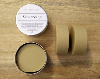 Shaving soap, Bentonite clay and lemon balm / natural handmade soap, extra fatted with shea butter / scented with essential oils