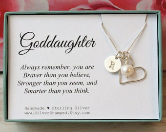 Gift for goddaughter etsy gift for goddaughter necklace sterling silver initial charm necklace unique personalized goddaughters birthday gift god daughter negle Choice Image