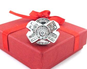 14K White Gold Men's Diamond Ring, 14k White Gold Men's Ring, Men's Diamond Ring