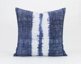 "Vintage Hmong Indigo Pillow - Batik Throw Pillow Cover / Cushion Cover : 18x18"" | Hmong Pillow,  Hill Tribe Pillow, Blue White, Hmong Hemp"