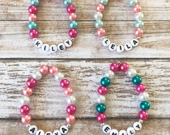 Kids Personalized Pearl Bracelet, Personalized Bracelet For Girls, Childrens Jewelry, Girl Toddler Beaded Stretch Bracelet, Baby Bracelets
