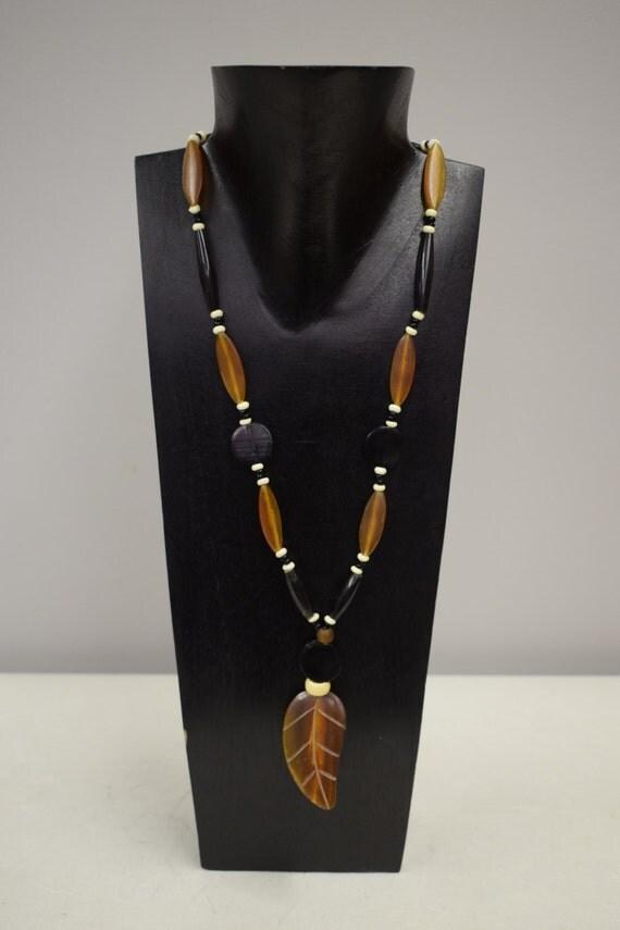 Necklace Vintage Necklace Brown Etched leaf Tubes Black Tubes  Pendant  Handmade Leaf Pendant  Round Discs Tribal Necklace Unique  E
