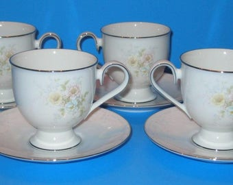 Vintage Noritake Ireland Anticipation Cups and Saucers - Yellow Floral Cups -  Set of 4/8 Pcs