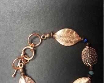 Copper beaded bracelet with Swarovski Crystal