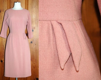 1950s 1960s Dusty Blush Pink Wiggle Dress // 50s 60s Pale Pink Wool Midi Dress by Mel Naftal