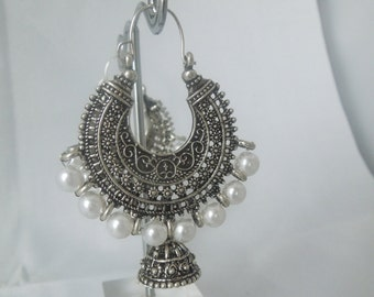 Silver Dangling Earrings with pearls- Antique Indian