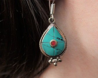 Turquoise and Silver Earrings, hanging earrings