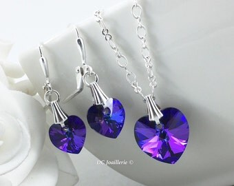 Swarovski Heart Pendant Necklace Crystal Necklace Valentine's Day Jewelry Crystal Heliotrope Flower Girl Gift Gift for Her